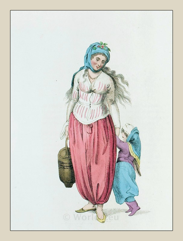 Greek, woman, clothing, Ottoman empire, Island, Marmara, Historical Turkey costumes.