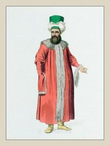 Turk. Pelise. fur coat. Turkish traditional clothing. Historical Ottoman empire costumes.