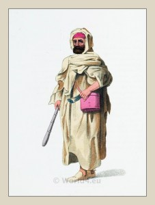 Traditional Bedouin costumes. Arabian dessert people dress. Ottoman Empire