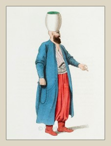 Officer of the Janissary corps. Ottoman empire historical clothing