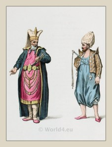 Janissaries in official dress. Ottoman empire historical clothing