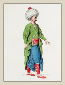 Janissary corps. Ottoman empire historical clothing