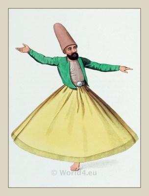 Whirling dervishes. Mevlevi Tariqa Dervish. Sufism. Historical Ottoman empire costume.
