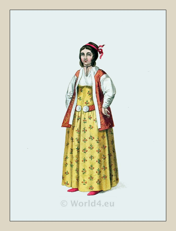 Muslim woman costume. Beyoglu (Pera), Istanbul. Ottoman empire historical clothing