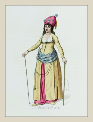 Attendant. Oriental Harem costumes. Ottoman empire. Turkish historical clothing.