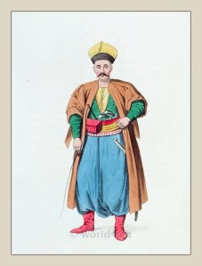 Tatar man costume from Crimea. Ottoman empire historical clothing
