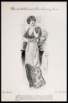 France Fin de siècle Lace Evening Gown. French haute couture gown. Belle Epoque costume by Couturier by Martial & Armand