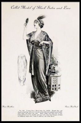 The Fashion House Callot Soeurs. France 1910s Fin de siècle fashion. French haute couture gown. Belle Epoque costume