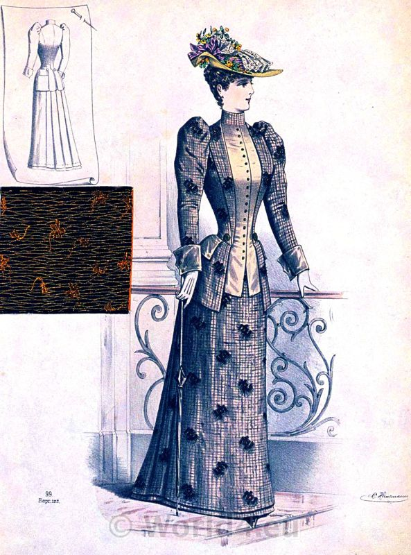 Spring suit,brocaded wool, Art nouveau, fashion,mCostume