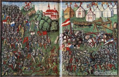 Battle, Grandson. Burgundian Wars. Medieval Soldiers. Middle ages Knights