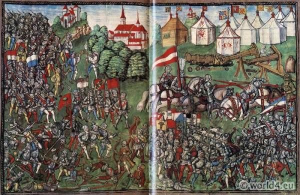 Battle, Grandson. Burgundian Wars. Medieval Soldiers. Middle ages Knights
