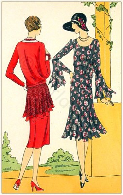 Art deco costumes. Flapper fashion. French 1920s clothing. Couturiers Brandt, Drecoll-Beer.