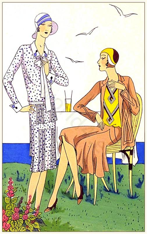 Couturiers Martial et Armand & Brandt. Art deco costumes. Flapper fashion. French 1920s clothing. Les créations parisiennes.