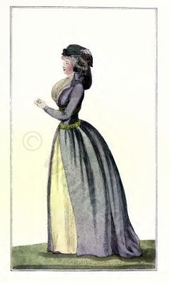French fashion history 1794. Directory dresses. France Revolution costume in 1794