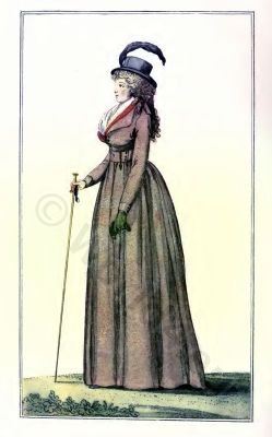 French fashion history 1795. Directory dresses. France Revolution costume in 1795