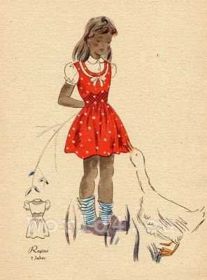 Red dotted dress and white blouse. German Children clothing. Kids vintage costumes. 1940s fashion.