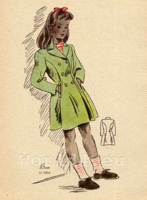 The Girl in the Green Raincoat. German Children clothing. Kids vintage costumes. 1940s fashion.