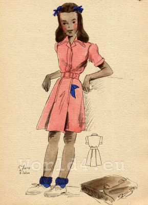 German school girl costume and hairstyle. German Children clothing. Kids vintage costumes. 1940s fashion.