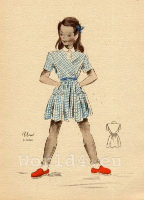 Short summer dress. German Children clothing. Kids vintage costumes. 1940s fashion.