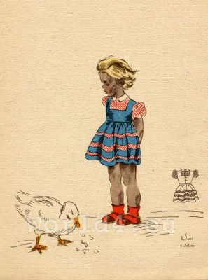 German Children Fclothing. Kids vintage costumes. 1940s fashion.