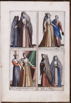Italian Renaissance costumes. 16th Century fashion. Nobility court dress