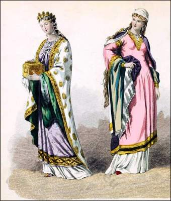 Middle Ages, 10th century, clothing, Carolingian, Queen, court dresses,