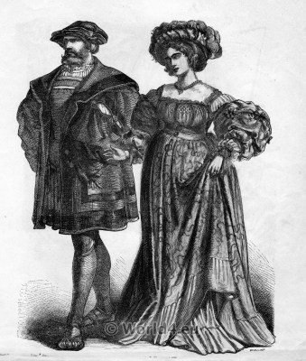 German citizen. Middle Ages Dresses. Renaissance Fashion. 16th century clothing.