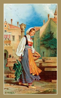 Traditional Croatian national costumes. Woman Folk dresses from Rovinj Santa Eufemia. ŽENSKA NOŠNJA IZ SUTOMIŠĆICA