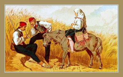 Traditional Serbian National Costumes. Folk dresses from Zadarska Zupanij Croatia. NOŠNJE IZ ZADARSKE OKOLICE
