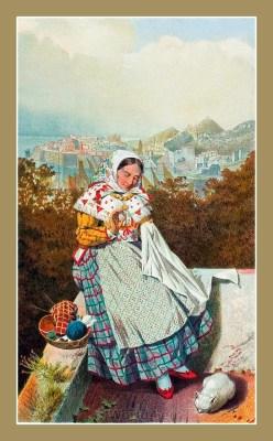 Croatian national costumes. ŽENSKA NOŠNJA IZ DUBROVNIKA
