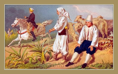 Traditional Serbian National Costumes. Čapljina Folk Costumes from Gabele Bosnia-Herzegovina.