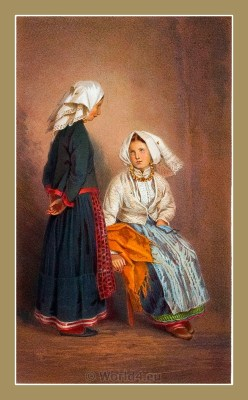 Traditional Serbian National Costumes. Women Folk Costumes of the Croatia island Pag. ŽENSKA NOŠNJA SA OTOKA PAGA