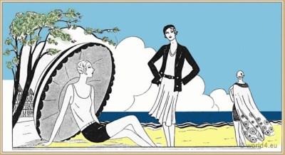 Les Créations Parisiennes. French Art Deco Fashion. 1920s. Flapper Costumes