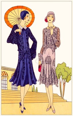 Couturier Jenny. Art deco costumes. Flapper fashion Model of Cinq à sept and Cortège. French 1920s clothing.