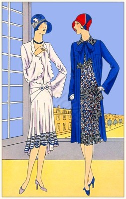 Couturiers J.Magnin and Rolande. Art deco costumes. Flapper fashion Model of Narcisse and Léonard. French 1920s clothing.