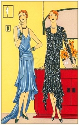 Models of Werther - Pécheresse. Couturiers Alice Bernard and Nanteuil. Art deco costumes. Flapper fashion. French 1920s clothing.