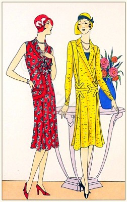 Art deco costumes. Flapper fashion. French 1920s clothing. Créations de Couturiers Riva and Mag-Hell.
