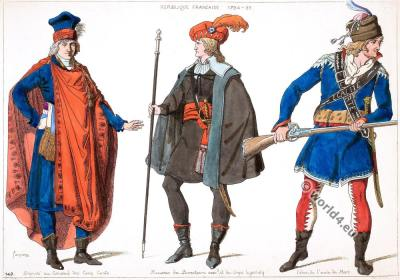 Members costumes of the French Republic.