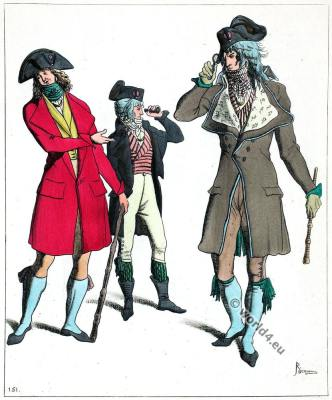 Incroyables. Muscadins. Dandies. France revolution costumes.