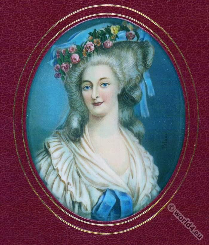 Princesse de Lamballe. Princess Maria Teresa of Savoy-Carignan. French nobility. 18th century, rococo fashion