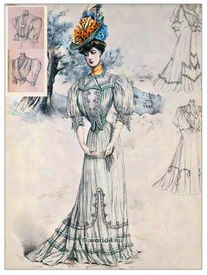 Art nouveau, Fin de siècle fashion. Belle Epoque costumes. Sans-Ventre-Corset. 1910s clothing