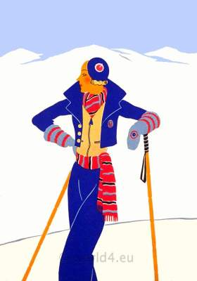French art deco costume. Winter sport fashion. Vintage Haute couture