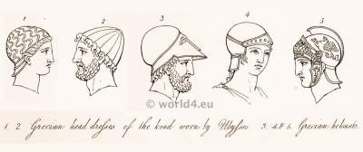 Ancient Greece.Greek headdresses. helmets. Antique Warrior, Soldiers weapons .Armor
