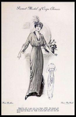 France Fin de siècle fashion. French haute couture gown. Belle Epoque costume by Couturier Mdm. Premet.
