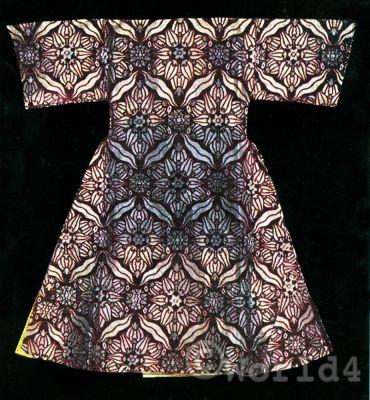 Ottoman Empire costumes. Turkish brocade caftan on silk. Mehmed the Conqueror.