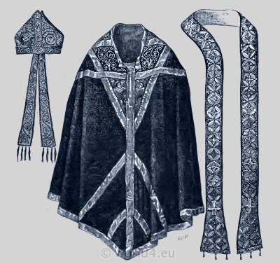 Ecclesiastical Chasuble, Mitre, and Stole of Archbishop Thomas Becket of Canterbury.