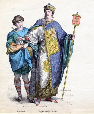 Byzantine fashion history, Emperor costume. Noble boy clothing, Ancient dress