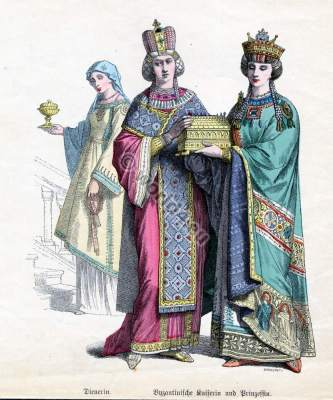 Byzantine nobility, empress, prinzess, servant, costumes, crown, tunic, court, costume, habit, dress, illustration,