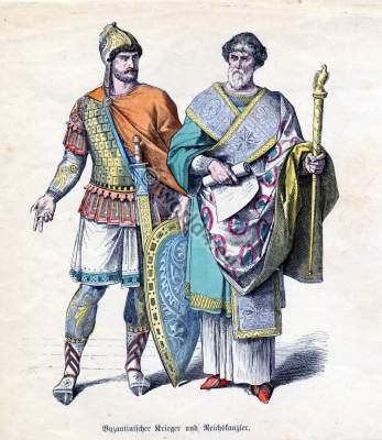 Ancient Byzantine nobility costume, Toga, Tunica. Byzantium Knight armour.