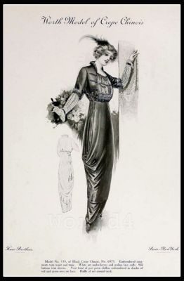 France Fin de siècle fashion. French haute couture gown. Belle Epoque cocktail dress by Charles FrederickWorth.